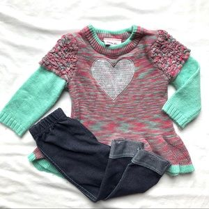 Little Lass 12 Month Heart Sweater & Leggings Set